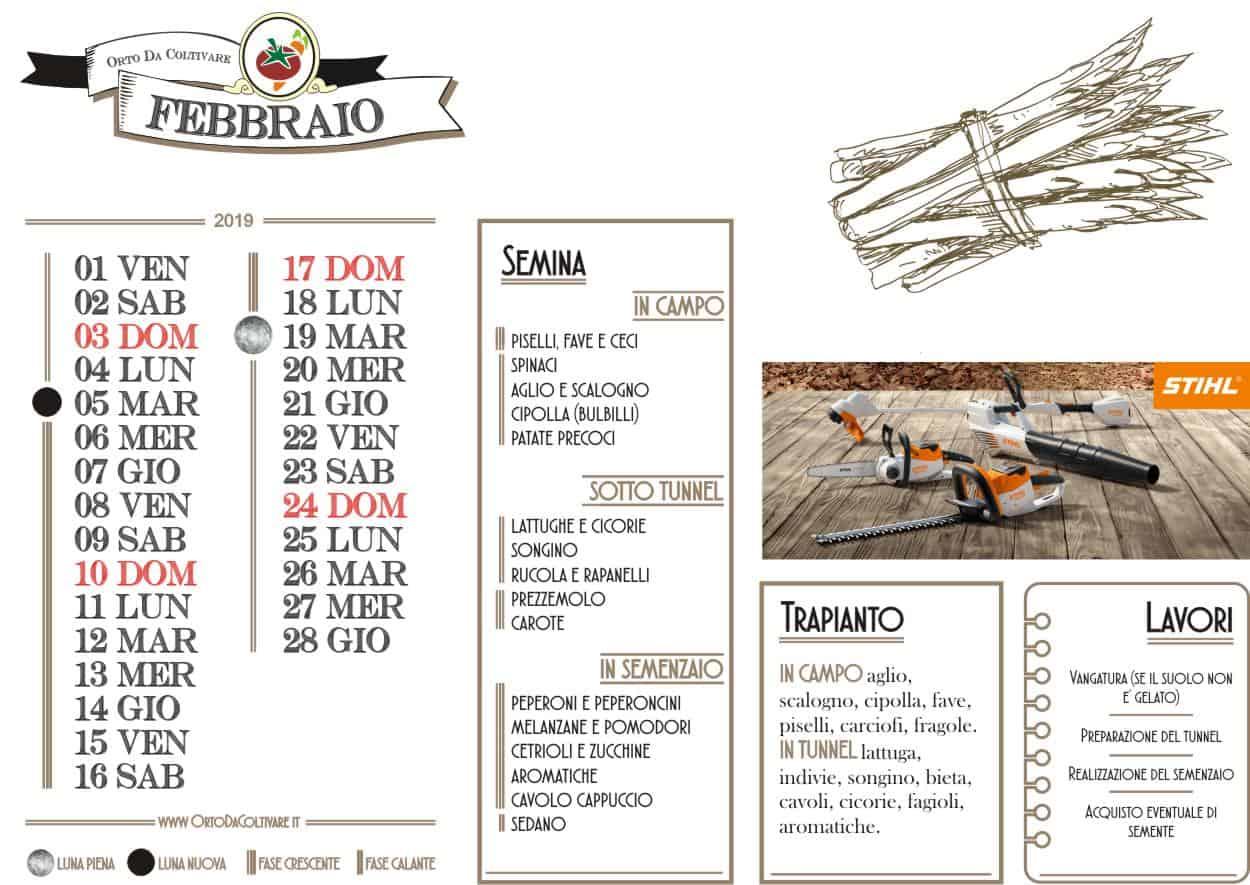 Calendario Lunare Orto.Calendario Dell Orto Di Febbraio 2019 Luna Semine E Lavori