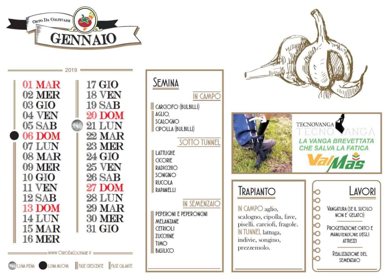 Calendario Trapianti Orto Pdf.Calendario Orto Gennaio 2019 Fasi Lunari Semine E Lavori