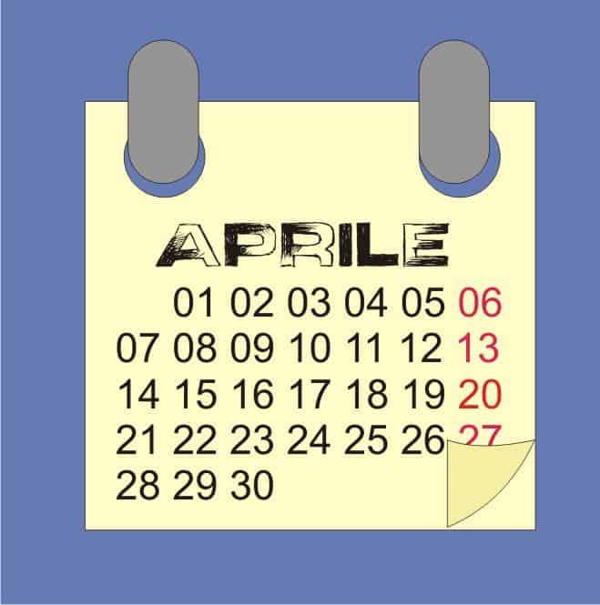 calendario aprile 2017