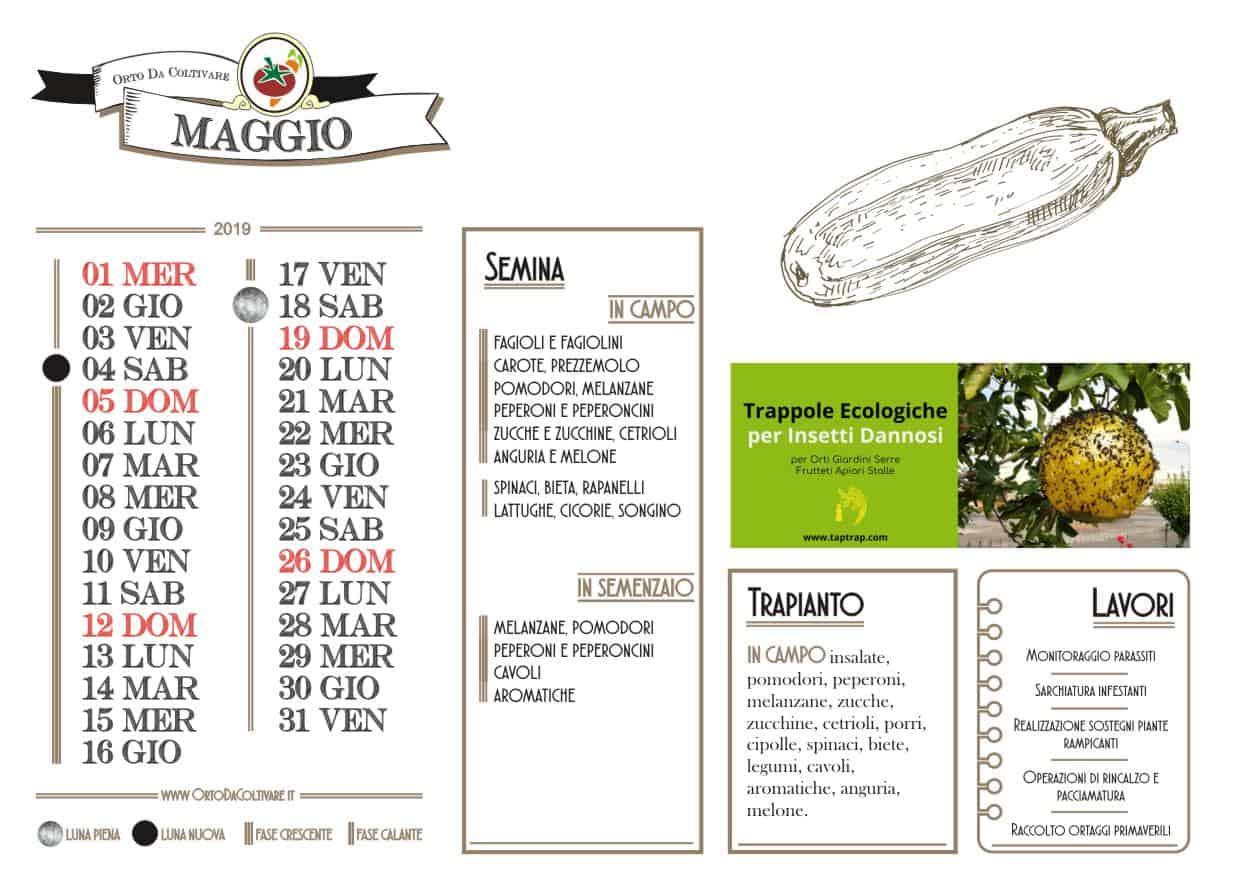 Calendario Lunare Maggio.Calendario Lunare Di Maggio 2019 Lavori Nell Orto E Semine