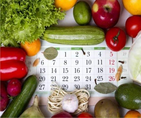 calendario e verdure di stagione