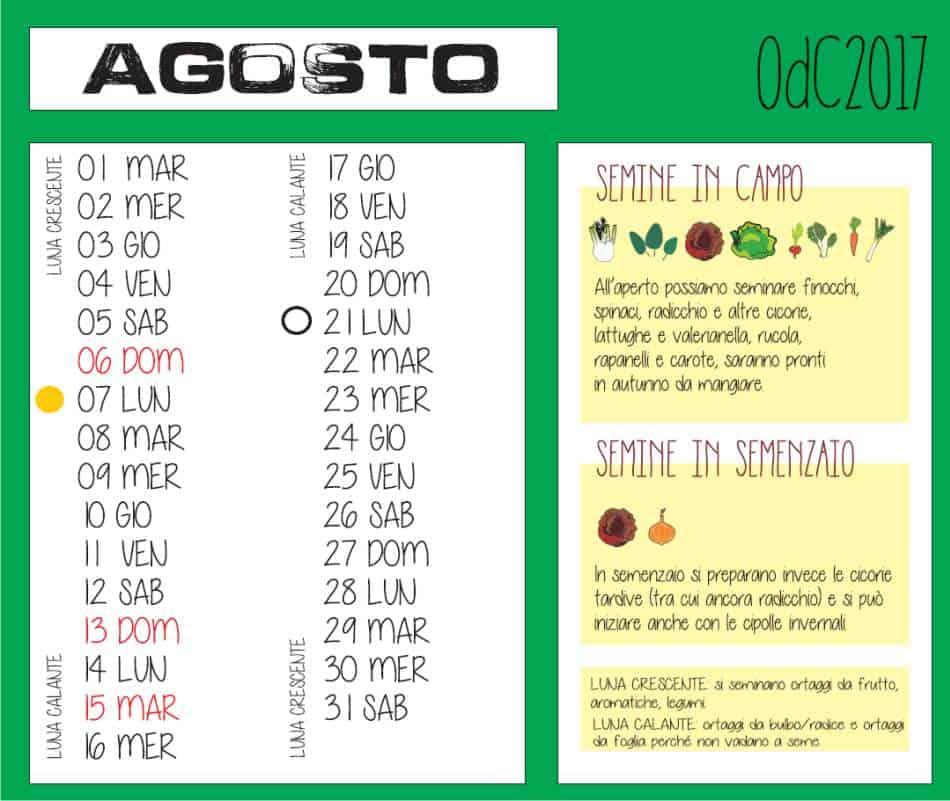 calendario del mese di agosto