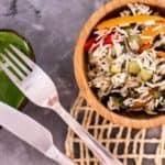 Insalata di riso con zucchine, peperoni e melanzane