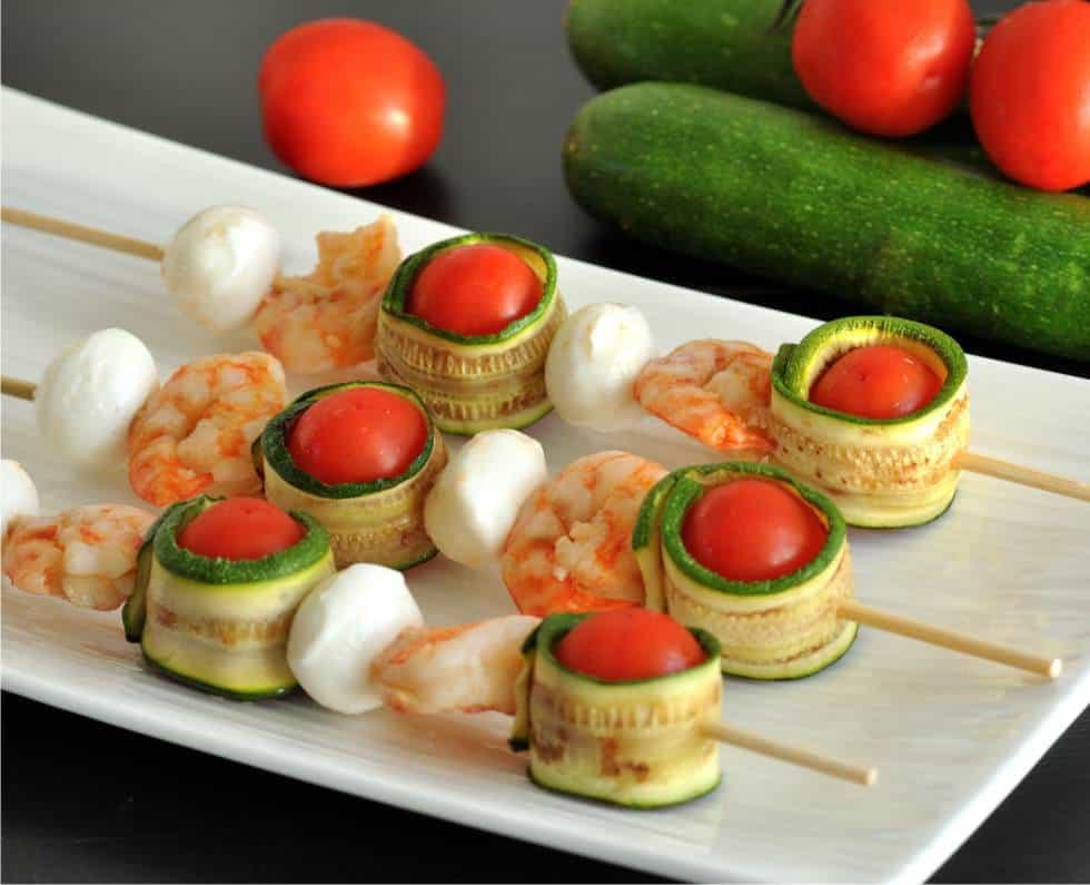 spiedini di zucchine grigliate e mazzancolle