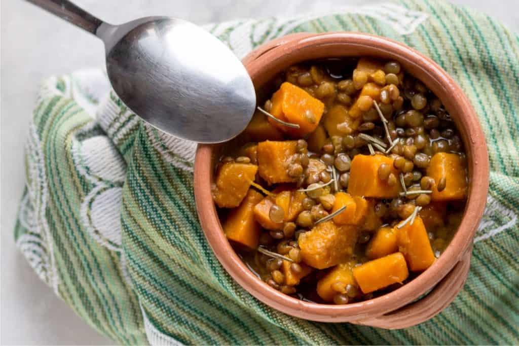 minestra di zucca e lenticchie