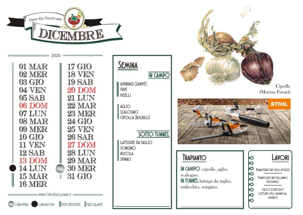 dicembre 2020 calendario orto