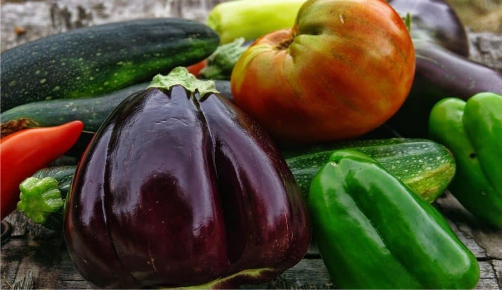 verdure raccolte nell'orto famigliare